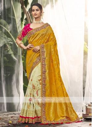 Mustard Yellow & Cream Color Silk Saree
