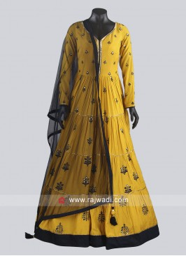 Mustard Yellow Crepe Silk Anarkali Dress