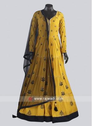Mustard Yellow Crepe Silk Anarkali Dress