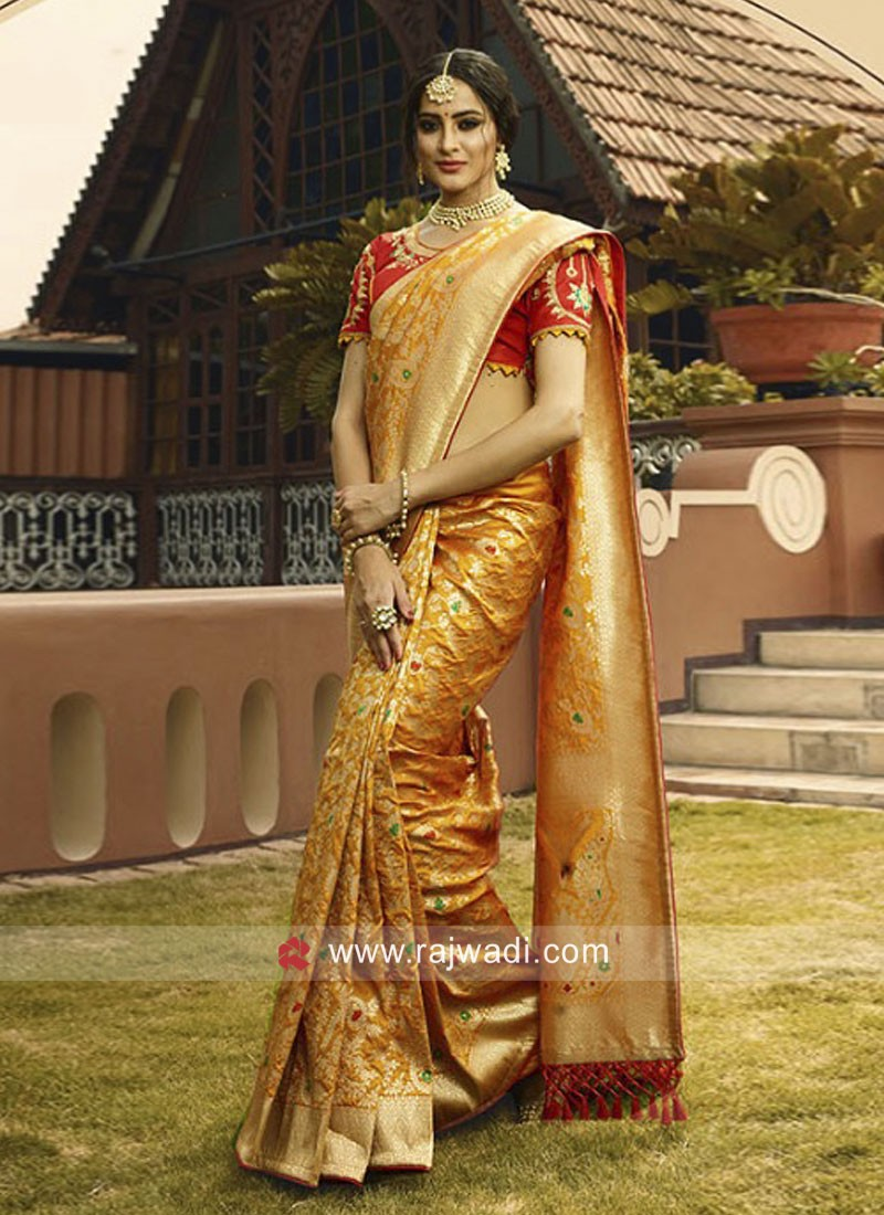Mustard Yellow Embroidered Saree