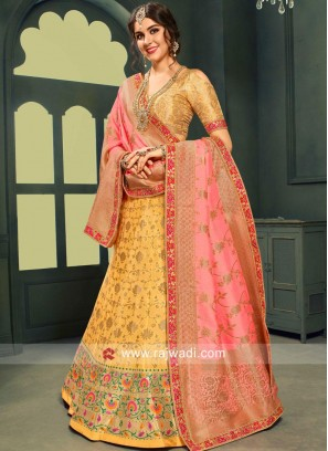 Mustard Yellow Flower Print Lehenga Choli