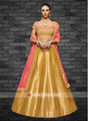 Mustard Yellow Lehenga Choli with Peach Dupatta