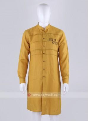 mustard yellow linen kurta