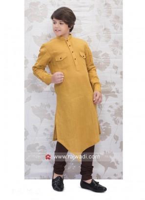 Mustard Yellow Linen Pathani Set