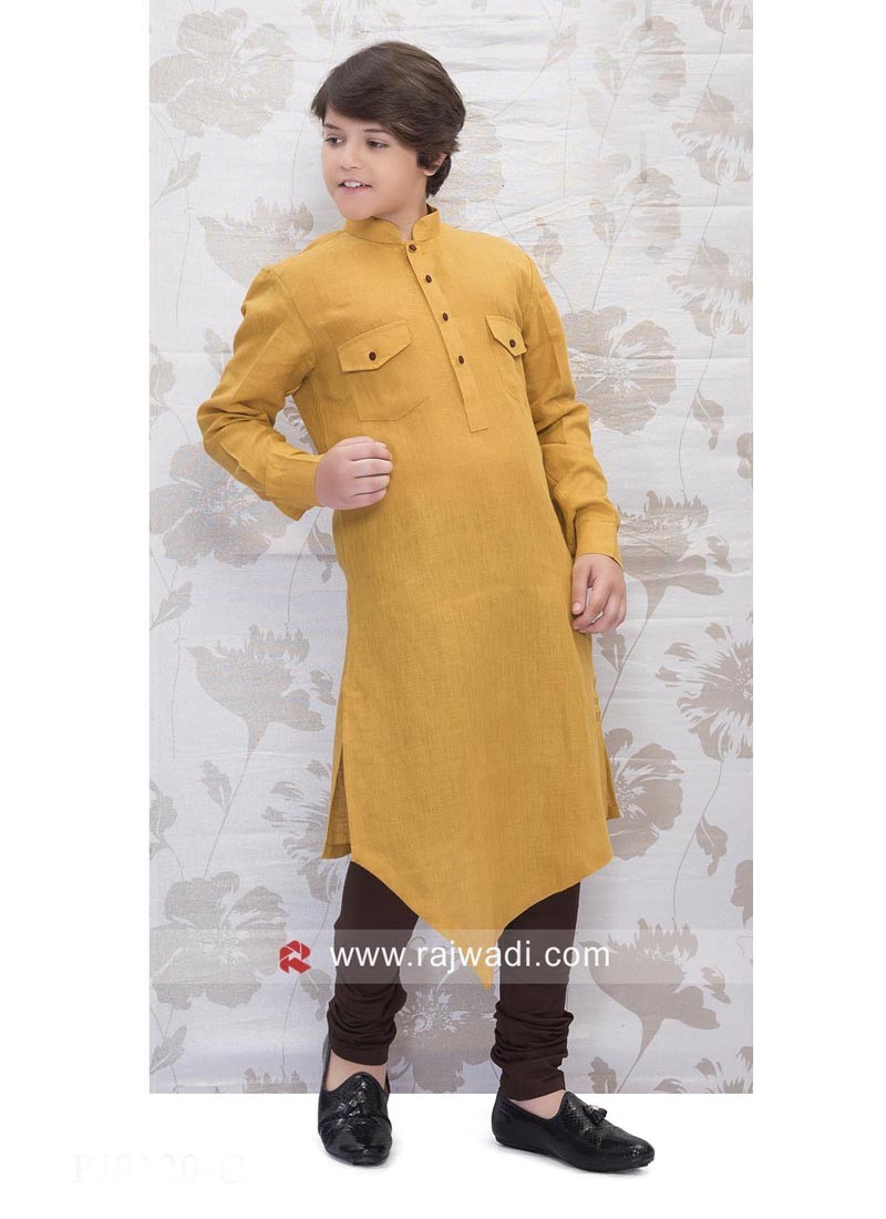 Mustard Yellow Linen Pathani Set