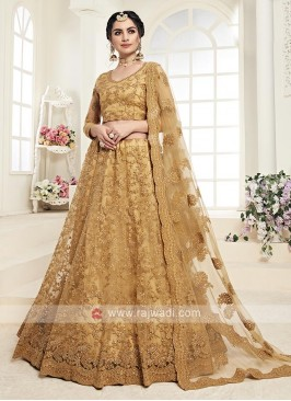 mustard yellow net lehenga choli