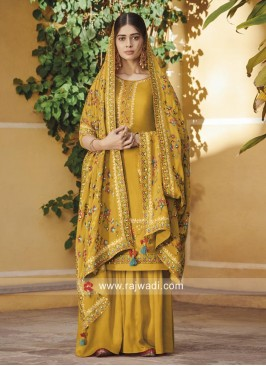 Mustard Yellow Palazzo Suit Salwar Kameez