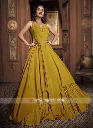 mustard yellow party wear gown