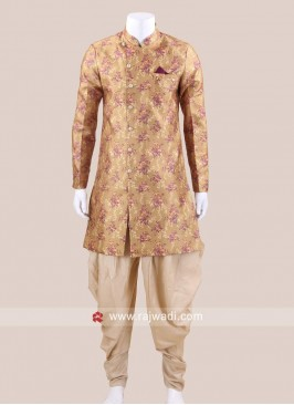 Mustard Yellow Patiala Suit With Fancy Buttons