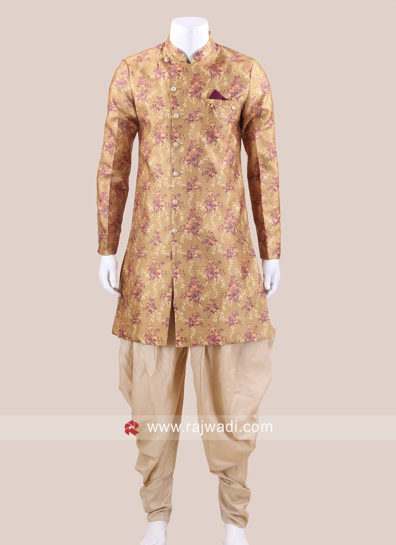 Mustard Yellow Indo Western Suit With Fancy Buttons