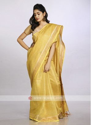 Mustard yellow plain casual saree