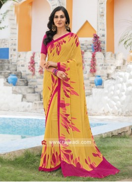 Mustard Yellow Printed Saree