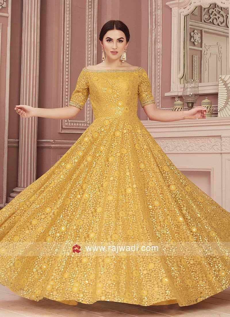 Mustard Yellow Resham Work Gown