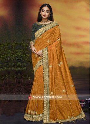 Mustard Yellow Saree with Blouse
