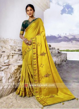Mustard Yellow Saree with Contrast Blouse