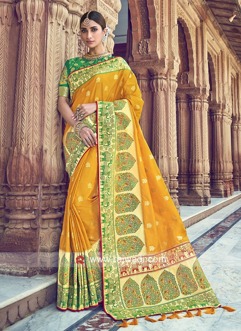 Mustard Yellow Saree with Green Blouse