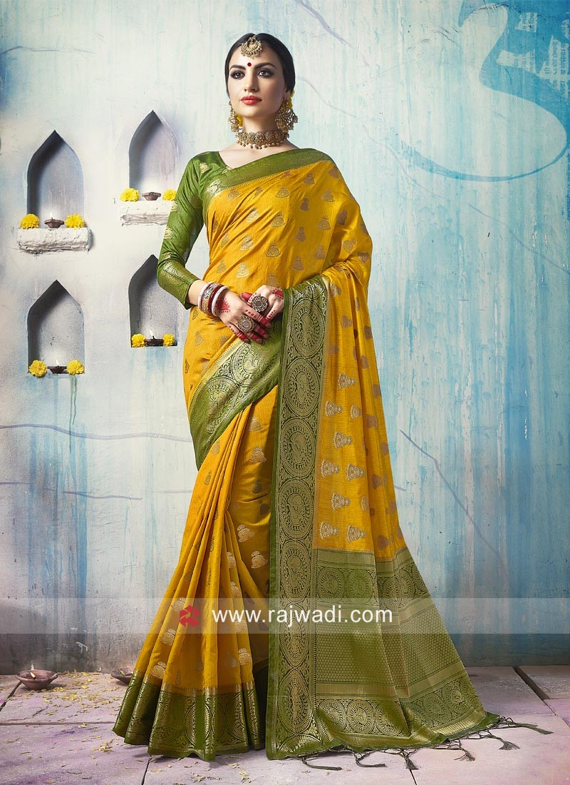 Mustard Yellow Saree with Olive Blouse