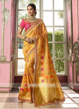 Mustard Yellow Saree with Pink Blouse