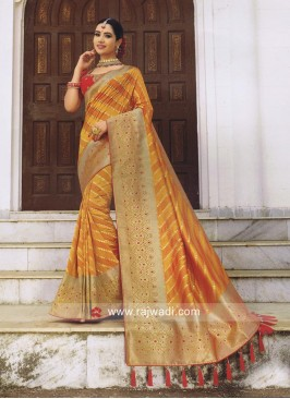Mustard Yellow Saree with Red Blouse