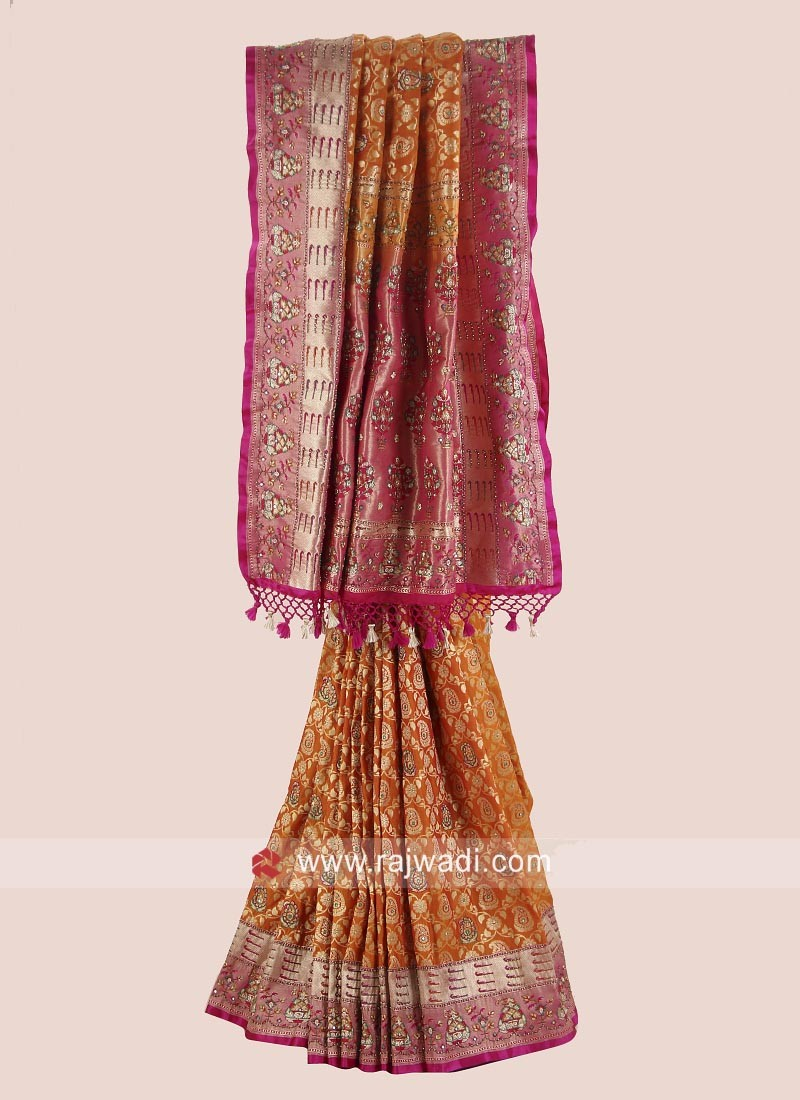 Mustard Yellow Sari with Rani Embroidered Border