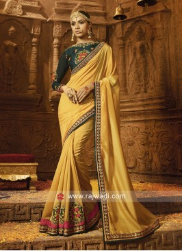 Mustard Yellow Silk Embroidered Saree