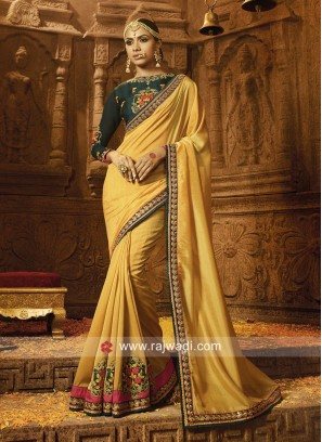 Mustard Yellow Silk Embroidered Saree