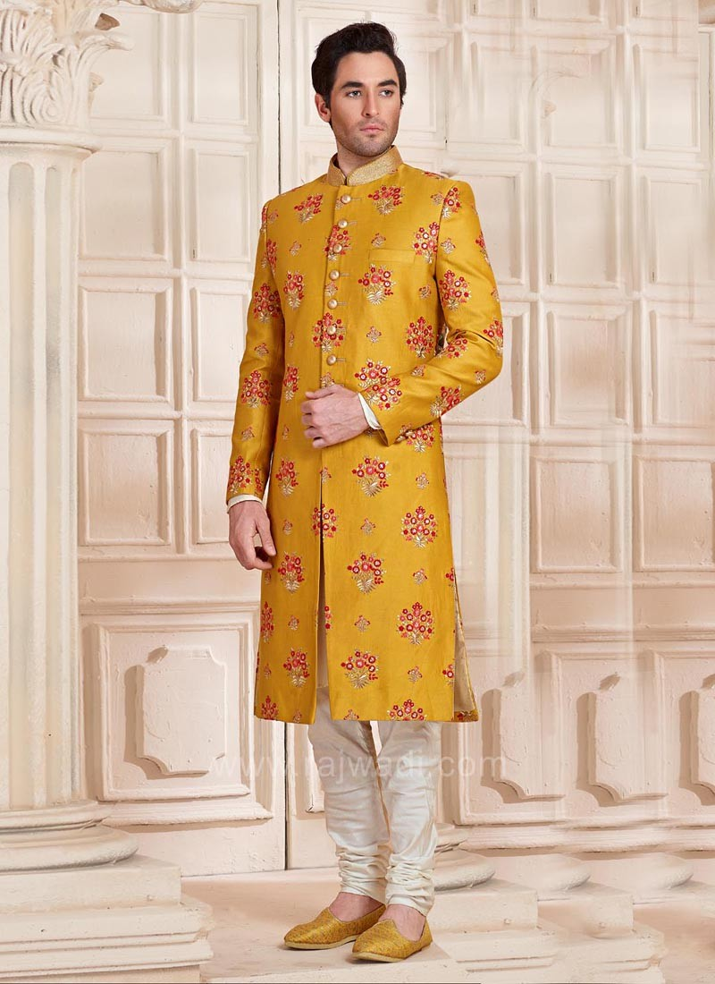 Mustard Yellow Silk Fabric Indo Western