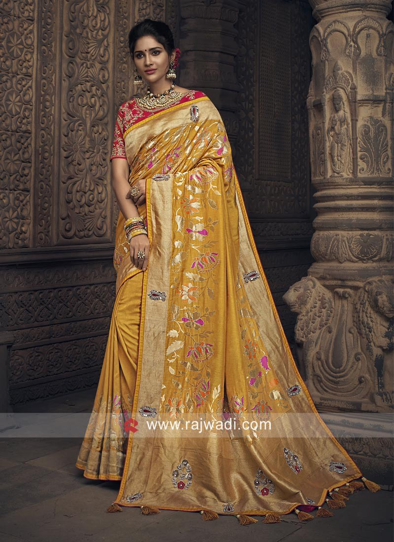 Mustard Yellow Silk Heavy Saree