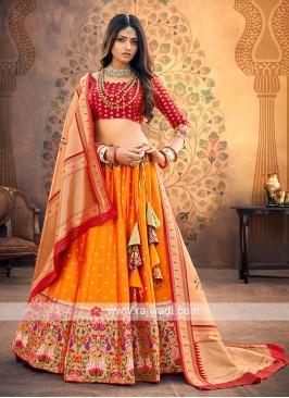 Orange Silk Lehenga Choli