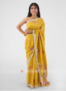 Mustard Yellow Silk Saree With Pearl And Cut Dana Work Border