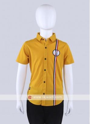 Mustard Yellow Silk Shirt