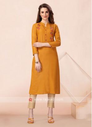 Mustard Yellow Soft Cotton Kurti