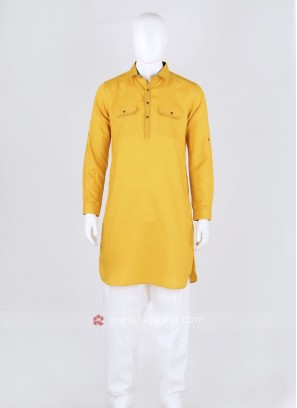 Mustard Yellow Solid Pathani Suit