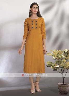 Mustard Yellow Straight Fit Kurti