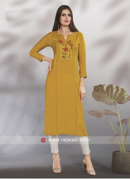 Mustard Yellow Thread Work Kurti