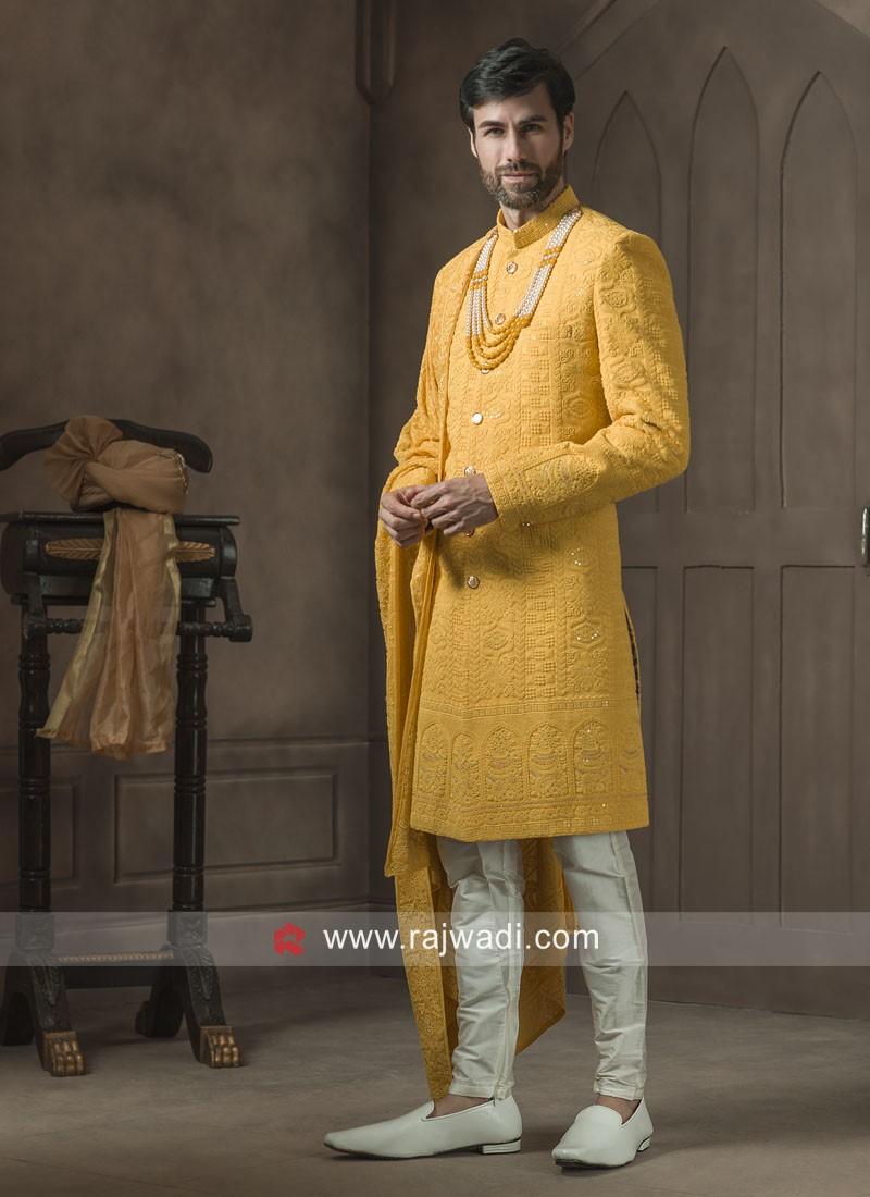 Mustard Yellow Thread Work Sherwani With Matching Dupatta
