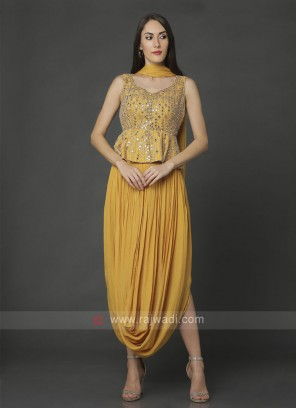 Mustard Yellow Top With Dhoti Pant