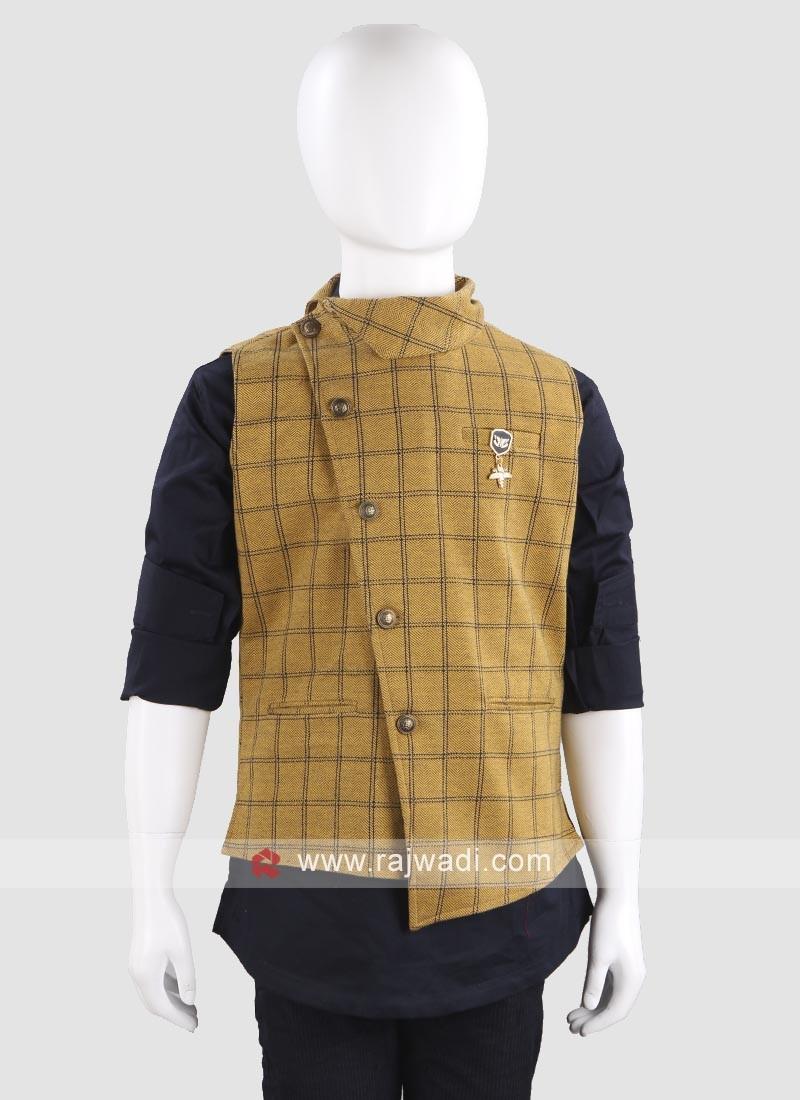 Mustard Yellow Waist Coat For Boys
