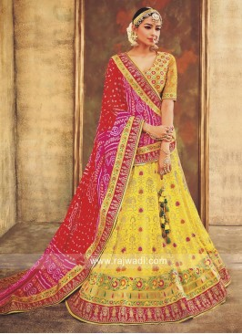 Mustard Yellow Weaving Lehenga with Bandhani Dupatta
