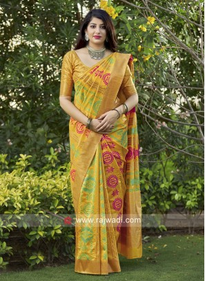 Mustard Yellow Weaving Saree