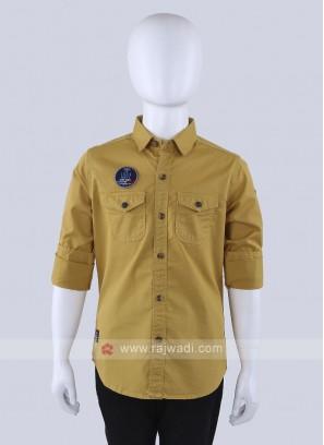 Mustartd Yellow Casual Shirt