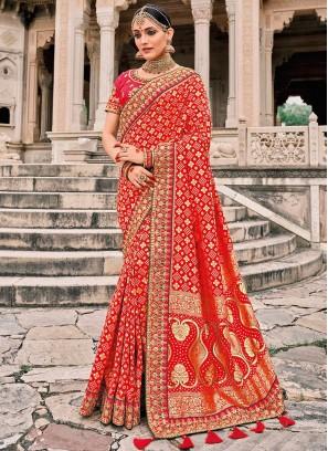 Mystic Red Silk Trendy Saree