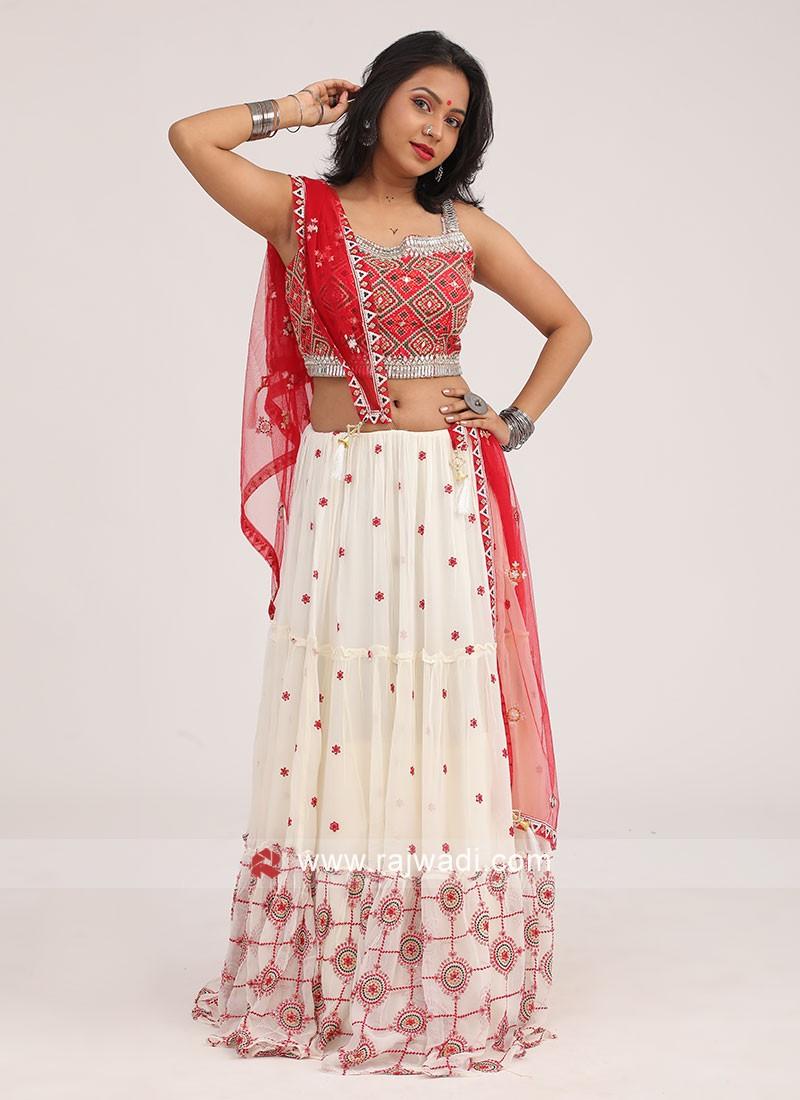 Navratri Chaniya Choli In Cream And Red Color