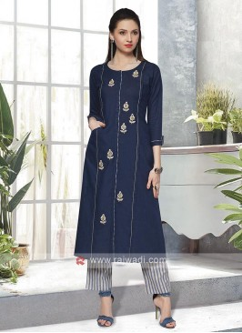 Navy Blue & Ivory Kurta Set