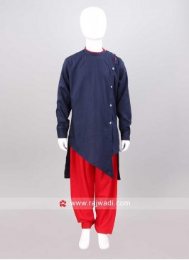 Navy and Red Color Pathani Set
