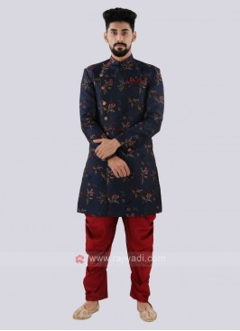 Navy And Red Indo Western