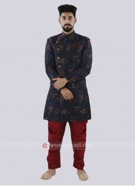 Navy And Red Patiala Suit