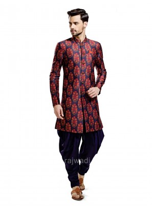 Navy and Red Printed Patiala Suit