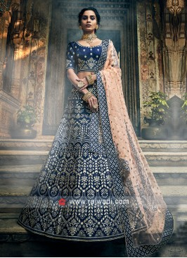 Navy Art Silk Lehenga Choli