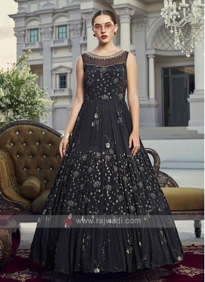 Navy blue anarkali suit